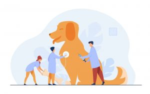 Dierenartsen verzorgen een hond met dierenmedicijnen animatie